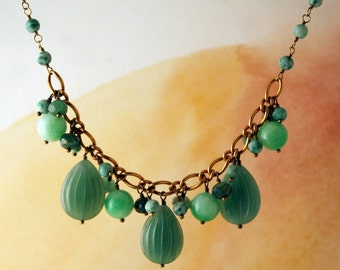 Aventurine, jade and glass necklace.