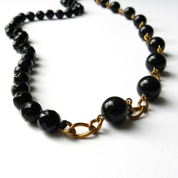 Long half and half black onyx and agate necklace by Maxime B