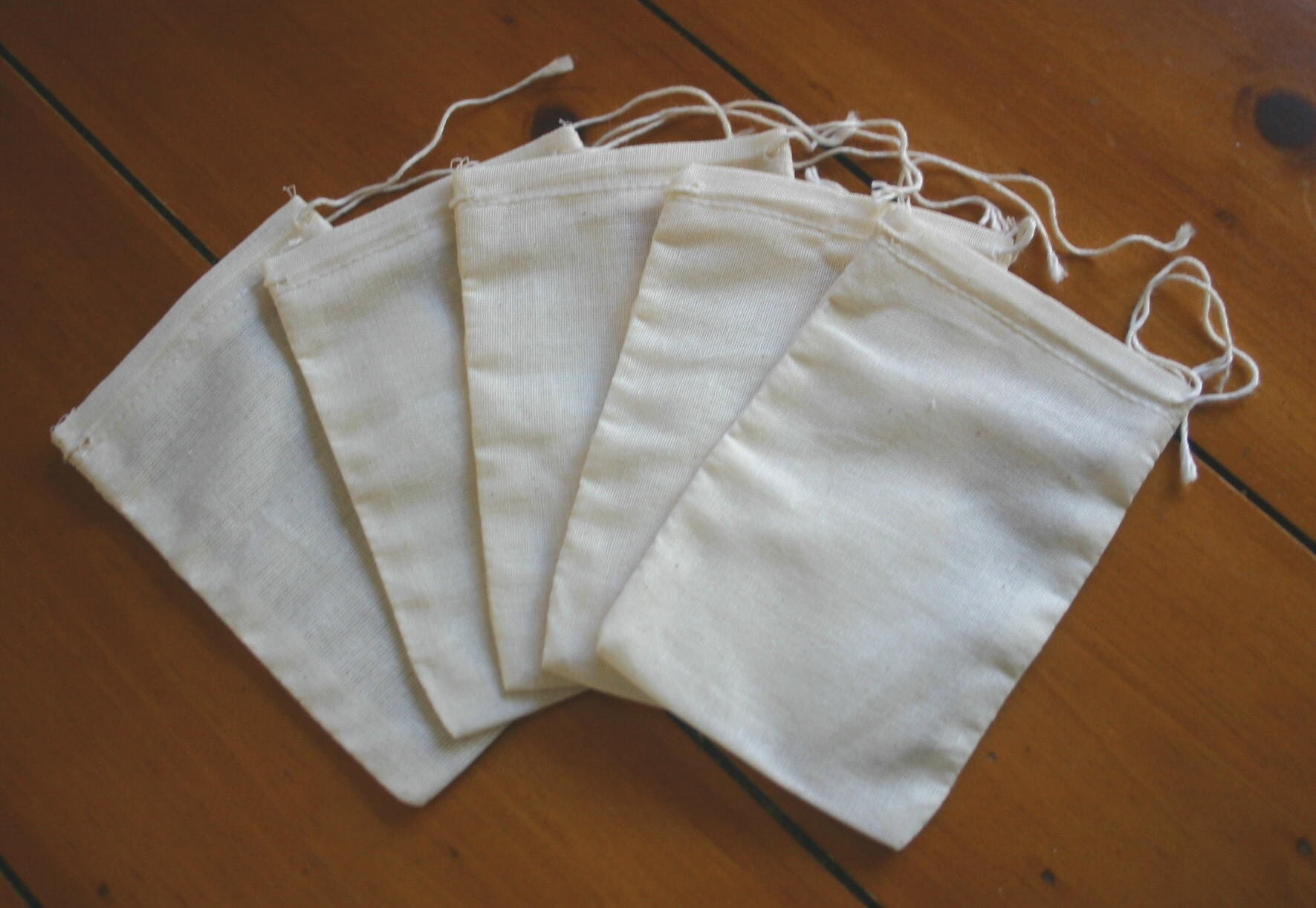 Cotton Muslin Bags Small Unbleached w/ Drawstring 5 PACK TEAS