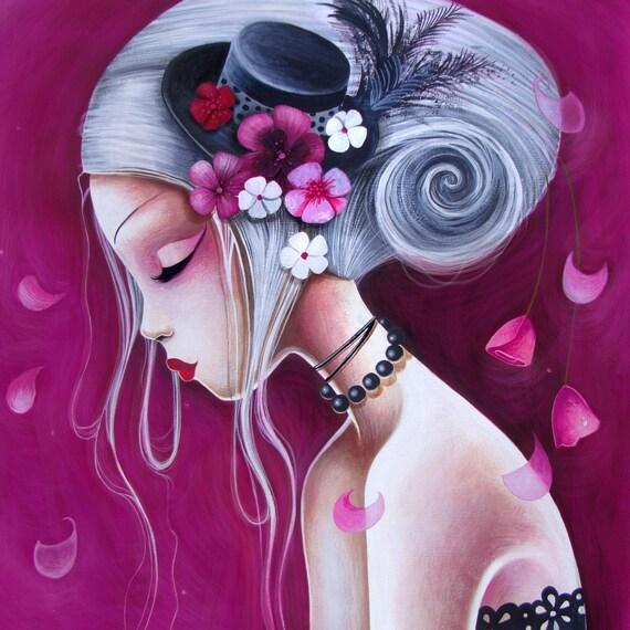 Print Le chapeau fleuri