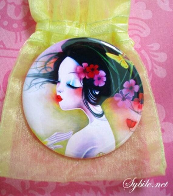 Pocket mirror papillon jaune