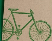 card - bicycle, screenprinted on recycled manilla card