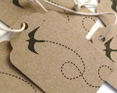4 gift tags, screenprinted on recycled manilla card