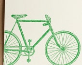 card - bicycle, screenprinted on recycled ivory card