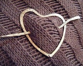 Hammered Copper Heart Shawl Pin