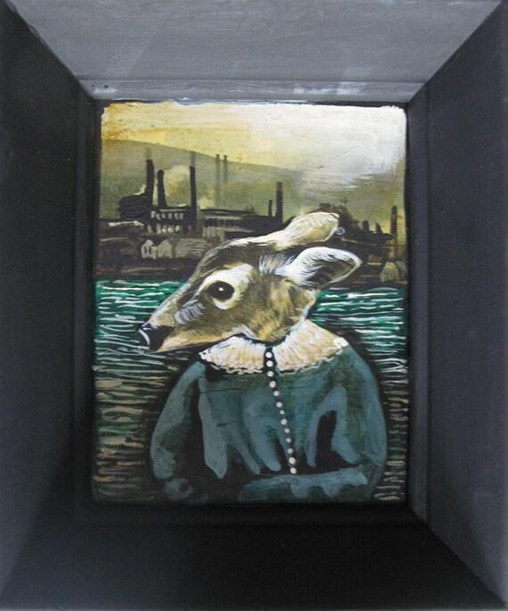 RESERVED: Deer Portrait wth Blue Dress, Fall River