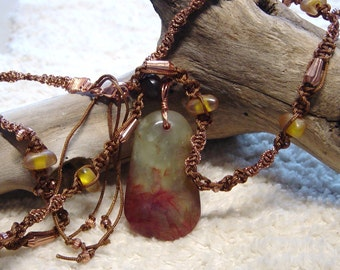 Rustic Agate Stone Knotted Pendant Necklace