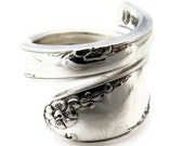 Spoon Ring Sterling Silver Madiera size 6-12  Wrapped Mondernist Style