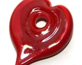 Heart Shaped Lampwork Disk Bead