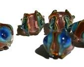 Peacocks Handmade Lampwork bead set