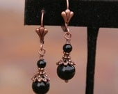 Little Black Dress DeSIGNeR Onyx N Copper Earrings Dainty yet Classy