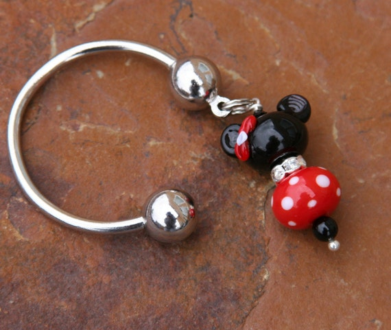 Minnie Mouse Disney SRA Lampwork DeSIGNeR KeYChAiN Happies Place on Earth Red Black Disneyland Mickey