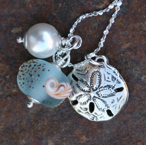 Sterling Silver Sand Dollar Pearl Lampwork DeSIGNeR Necklace Beach Summer Sand Shells Vacation Wedding