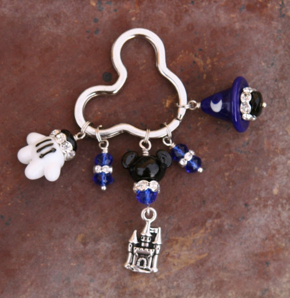 Sorcerer Fantasia Blue Hat N Mouse Glove N Mickey Style SRA Lampwork DeSIGNeR KeyChain Disney Inspired Fantasia
