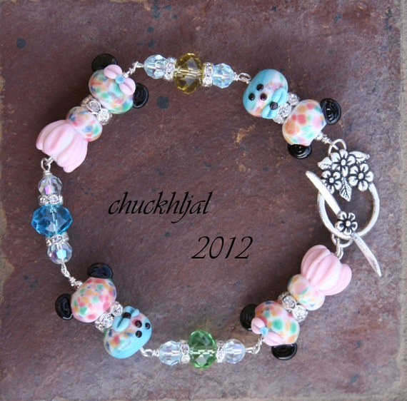 Easter Sunday's Best Dress for our Famous Mice SRA Lampwork Disney Inspired Mickey Minnie Style DeSIGNeR Bracelet