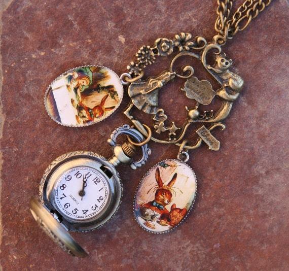 Steampunk Style Alice in Wonderland Disney Inspired DeSIGNeR Pocket Watch Clock Necklace