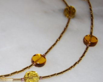 Gold Glass Bead Necklace
