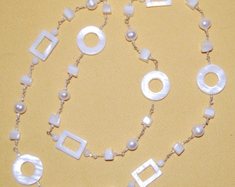 White Shell and Fresh Water Pearl Necklace
