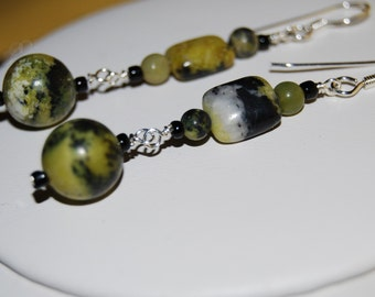 Green and Black Stone Earrings