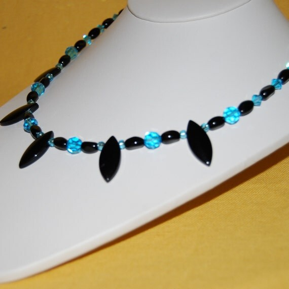 Black and blue beaded necklace for Black and blue jewelry cross necklace
