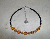Crystal Animal Print Anklet - Copper Swarovski and Black Czech Faceted Fire Polished Crystals - Sterling Silver