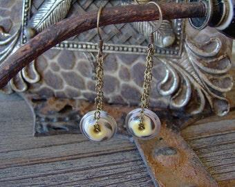 Lampwork Bead Earrings-Animal Print Artisan Lampwork Beaded Earrings in Brass-Artisan Earrings-Artisan Jewelry-Art Bead Earrings-SRAJD