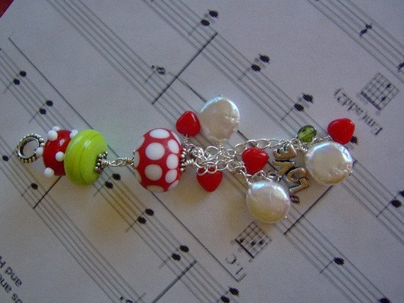 Red and White Polka Dot Artisan Lampwork Pendant