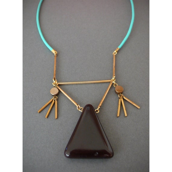 Bib necklace with chocolate brown glass triangle on turquoise leather cord