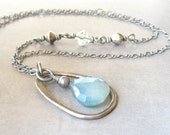 faceted blue chalcedony and silver pendant