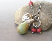 turquoise, coral and silver pendant