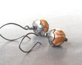 pumpkin tribal kazuri and silver earrings