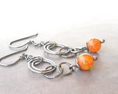 carnelian and silver rings earrings