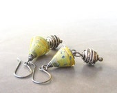 Reserved for Anne  - yellow lampwork glass cones and silver earrings with bali beads
