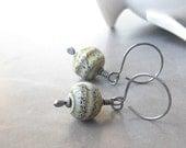 grey green lampwork and sterling silver dangle earrings