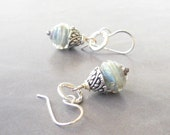 blue grey coconut lampwork and sterling silver dangle earrings