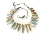 aqua necklace jasper necklace boho necklace southwest necklace oxidized silver rustic necklace