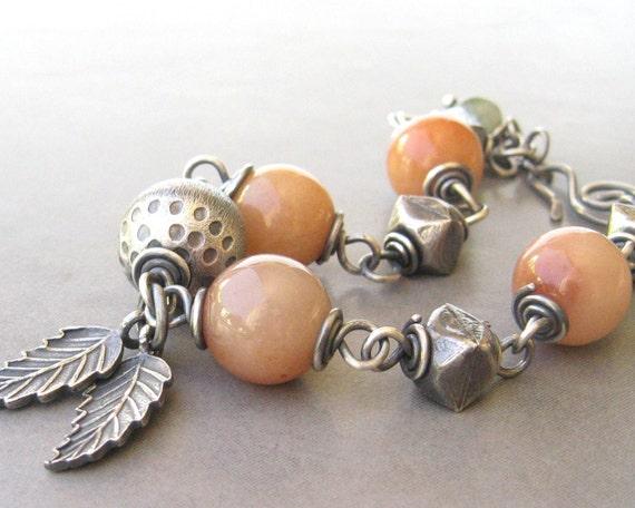peach jade and silver bracelet
