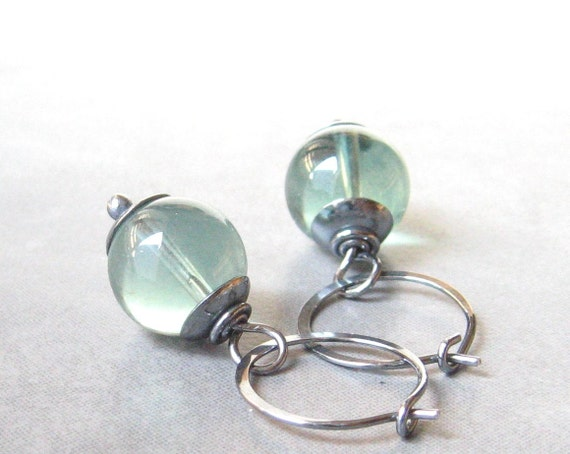 silver hoop earrings with green fluorite beads