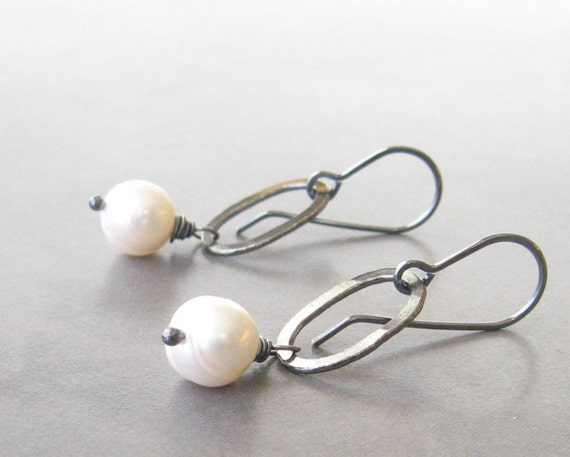 white pearl and silver oval hoop dangle earrings