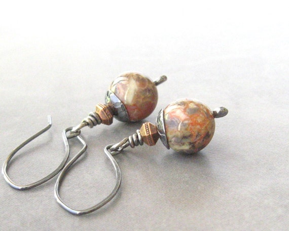 jasper dangle earrings with sterling silver and copper