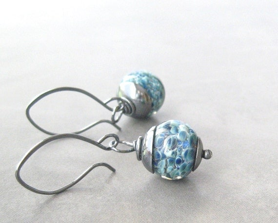 blue dangle earrings with lampwork beads and sterling silver