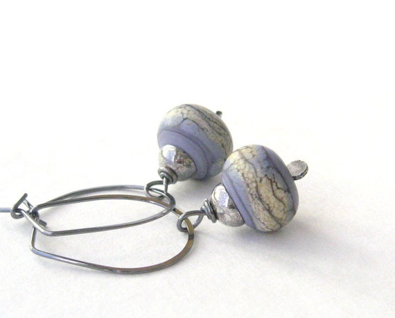lavender dangle earrings in lampwork glass and sterling silver
