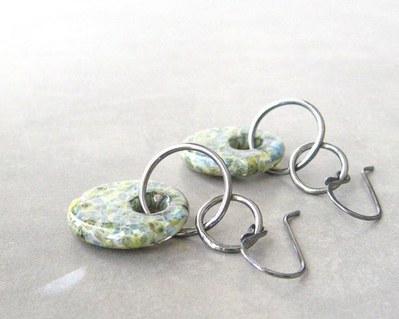 aqua dangle earrings with lampwork glass and silver