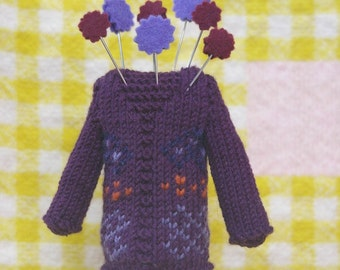 Knitting Pattern- Fair Isle Sweater Pincushion- PDF download