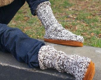 Knitting Pattern- Suede Sole Slipper Socks- PDF download