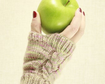 Knitting Pattern- Snow Apple Fingerless Gloves- PDF download