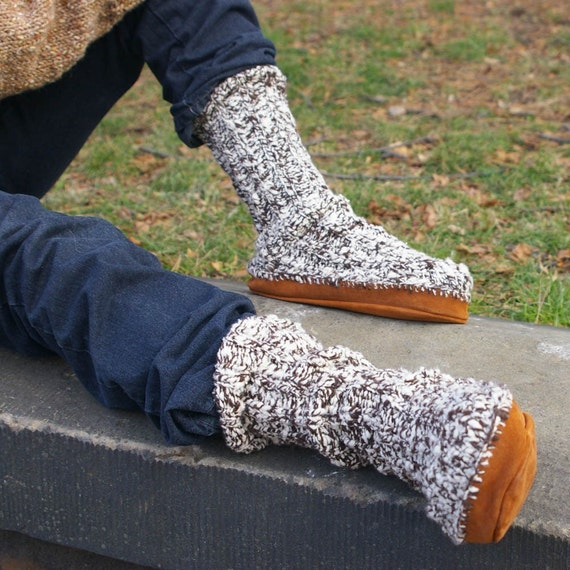 Items similar to Knitting Pattern- Suede Sole Slipper Socks- PDF download on ...