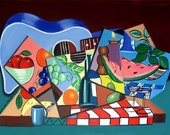 The Blue Guitar Print  Wine  Poster Cubism Food Fruit Anthony Falbo