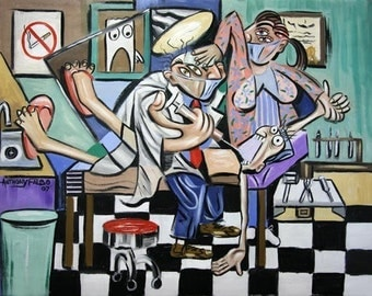 The Dentist Is In Dental Art Print Teeth Tooth Collectible Anthony Falbo