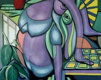 Yoga And An Apple Print Woman Cubist Cubestraction  Anthony Falbo